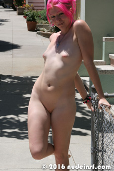 Fushia full public nudity San Francisco Mission District beautiful young girl nudeinsf spread pussy ass tits